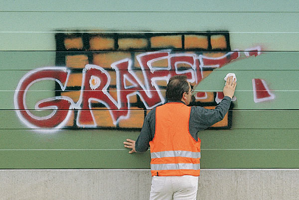 Noise control anti-graffiti coating